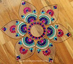 Diwali Rangoli, floor art - Jumbo Pan-  Blue, Pink, White - set of 7 pieces