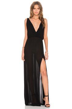 Shop for Bobi Rayon Gauze V Neck Sleeveless Maxi Dress in Black at REVOLVE. Maxi Dress With Slit, V Neck Dress, Lace Dress, Black Peach, Halter Gown, Ladies Dress Design, Designer Dresses, Formal Dresses, Maxi Dresses
