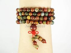 Natural 6mm Picasso Jasper Gemstone Buddhist 108 Beads Prayer Mala Multi-Purpose Stretchy Bracelet Necklace Healing