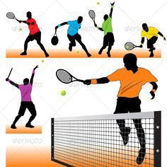 Tennis Silhouettes Set  #GraphicRiver         Set of 6 silhouettes of tennis players. Can be used for decoration of the tennis clubs.     Created: 7September11 GraphicsFilesIncluded: JPGImage #VectorEPS Layered: No MinimumAdobeCSVersion: CS Tags: ace #action #active #athlete #ball #body #collection #game #match #men #motion #open #player #professional #racket #recreation #run #serve #service #set #shot #silhouette #single #smash #sport #tennis #tournament #vector #wimbledon