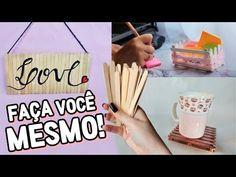 DIY USANDO PALITOS DE PICOLÉ | PLACA DECORATIVA, PORTA COPOS E MINI CAIXOTE - YouTube