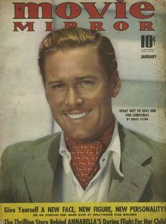 "Errol Flynn on the cover of ""Movie Mirror"" magazine, USA, January 1940."