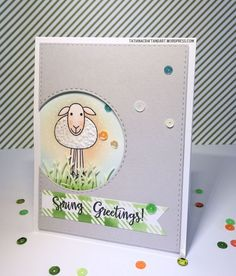 Spring Greetings #handmade card. Used #SSSFAVE Melody's Easter; #SSSFAVE Stitched Circles and Rectangles dies; #SSSFAVE Gingnam Stencil.