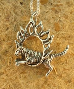 Silver Circus Tiger Charm Pendant $85