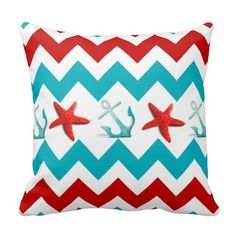 Nautical Beach Red Teal Chevron Anchors Starfish Throw Pillows SOLD on Zazzle