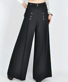 High waist women pants for professional ladies, women wide leg pants perfect for playing the cello In Fashion Pants, Hijab Fashion, Fashion Dresses, Sporty Fashion, Ski Fashion, Winter Fashion, Fashion Spring, Fashion 2017, Marlene Hose