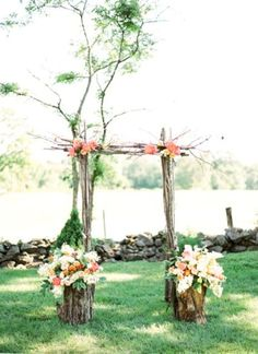 very simple arch for your ceremony. great idea for a small spring wedding outside in your backyard.via:weddingomania/comments:walkingonsunshine:)