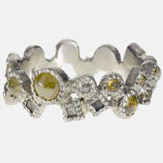 trdr604-xsmall-pd | Palladium, rose cut diamonds(1.48ctw), raw diamond cubes(.456ctw)