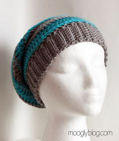 All Grown Up Striped Slouch Hat - great free crochet pattern, and there are matching fingerless mitts/arm warmers! {mooglyblog.com}