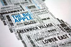 Manhattan Typographic Map by UrbanFootprintDesign on Etsy, via Etsy.