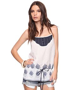 Forever 21 Women's Cream/Navy Embroidered Woven Top  $22.80