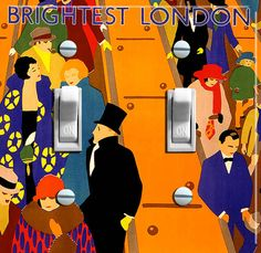 BRIGHTEST LONDON Vintage Switch Plate (single or double)  - - FREE Shipping - - by VintageSwitchPlates on Etsy
