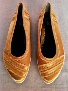 KEDS WOMENS YELLOW/GOLD FRILL CANVAS SLIP-ON CLOSE FLAT LADIES SHOE SIZE 7.5