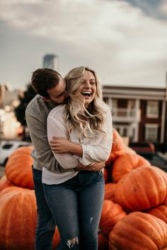 Fall engagement photos at pumpkin patch Couple Photoshoot Poses, Couple Photography Poses, Autumn Photography, Fall Engagement Photography, Romantic Photography, Photography Ideas, Wedding Photography, Fall Couple Pictures, Fall Family Photos