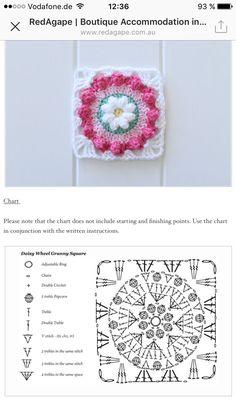 Crochet Blocks, Granny Square Crochet Pattern, Crochet Chart, Crochet Squares, Crochet Granny, Granny Squares, Crochet Patterns, Crochet Necklace, Daisy