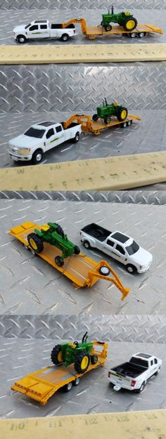 ertl John Deere dealer pickup with wheel flatbed hauling a 4020 tractor. Tractors are chained down and permanently attached to the trailer. Including the full standi toys line. Custom Hot Wheels, Farm Toys, 5th Wheels, Small Farm, Diecast Models, Old Toys, Fire Trucks, Caravan, Tractors