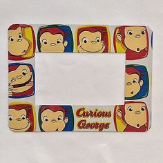 """Curious George Magnetic Photo Frame Refrigerator Magnet, 2"""" x 3 1/2"""" Photo Frame, Wallet Size, Curious George Frame Birthday Party Favors by EverydayWomen on Etsy https://www.etsy.com/listing/478070283/curious-george-magnetic-photo-frame"""