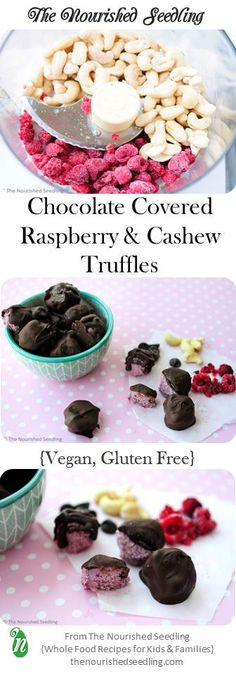 These decadent bites taste like mini ice cream truffles, yet have only 6 simple ingredients, no refined sugar and are full of nutrition!  With the right chocolate chips, these truffles can be gluten free and vegan, too. #ValentinesDay