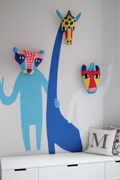 "A Small, Renovated ""Eclectic Scandinavian"" West London Home Proudest DIY: We are DIY enthusiasts, so there are lots of things that my husband and I made ourselves. For him it's the lights in our living room and for me it's the mural in the kids' bedroom. Cool Kids Bedrooms, Kids Bedroom Designs, Living Room Designs, Kids Rooms, Living Rooms, Awesome Bedrooms, Wall Murals Bedroom, Diy Bedroom, Bedroom Kids"