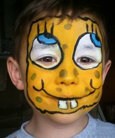 So, I'm doing a Spongebob party this weekend and I'm having trouble finding anything more than cheek art or this: Face Painting For Boys, Face Painting Tips, Face Painting Designs, Face Paintings, Spongebob Faces, Cartoon Faces, Diy Face Paint, Scary Clown Makeup, Cheek Art