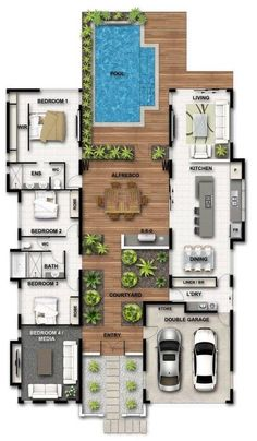 plantas de casas – planta baixa de casa com deck e piscina house plans – house floor plan with deck and pool Image Size: Sims House Plans, House Layout Plans, New House Plans, Dream House Plans, Modern House Plans, House Plans With Pool, Family House Plans, Home Design Floor Plans, Home Building Design