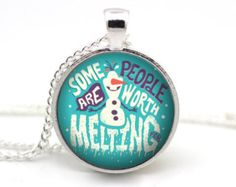 Frozen Necklace, Disney Necklace, Some people are worth melting for, Christmas gift, Olaf necklace