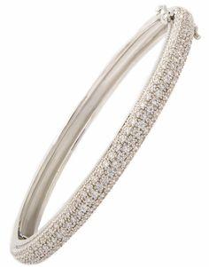 Bracelete cravejado com zircônias e ouro branco semi-joia