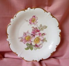 SO Beautiful Schumann Arzberg Germany Wild Rose Cake Chop Plate  #SchumannArzberg