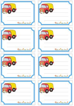 Etiquettes de cahier camion Printable Name Tags, Printable Labels, Printable Planner, Printables, Name Tag For School, School Frame, Bookmark Craft, Classroom Labels, School Labels