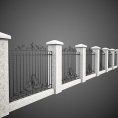 Wrought Iron Fence 6 Model available on Turbo Squid, the world's leading provider of digital models for visualization, films, television, and games. House Fence Design, Front Gate Design, Door Gate Design, Railing Design, Wrought Iron Decor, Wrought Iron Fences, Metal Fence, Tor Design, Wall Railing