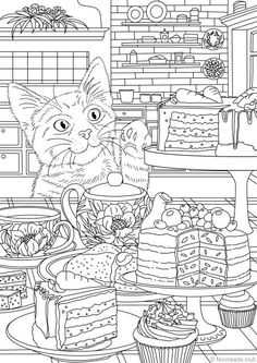 Little Thief - Printable Adult Coloring Page from Favoreads (Coloring book pages for adults and kids, Coloring sheets, Coloring designs) Spring Coloring Pages, Cat Coloring Page, Coloring Sheets For Kids, Printable Adult Coloring Pages, Disney Coloring Pages, Animal Coloring Pages, Coloring Book Pages, Kids Coloring, Coloring Pages For Adults