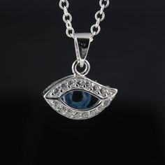 Evil Eye Necklace . Cubic Zirconia and Sterling Silver by MonyArt, $38.80
