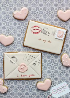 love letter cookies. now THESE are sugar cookies i could get into.... via #TheCookieCutterCompany