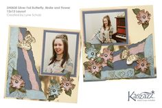 2H0830 Silver Foil Butterfly Birdie and Flower 12x12 Layout