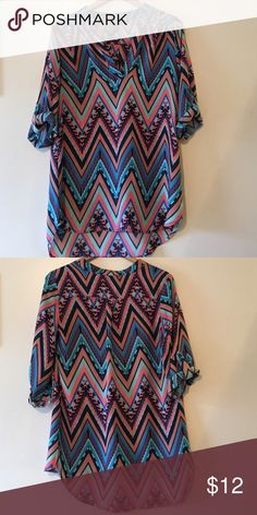 Bright Aztec, v-neck three-quarter sleeve shirt Aztec patterned large blouse. Worn only a couple of times! Make an offer! Justify Tops Blouses