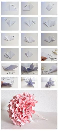 Another paper flower DIY -- Easiest oragami flower ever...once you follow the instructions twice, you will never need again. I used 3x3 sheets (about the side of a post-it note). ~ T