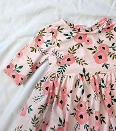 Pink Floral Dress, Girls Summer Floral Dress, Pink Summer Dress, Baby Girl Dress, Toddler Girls Dress, Pink Stretchy Dress, Summer Dress
