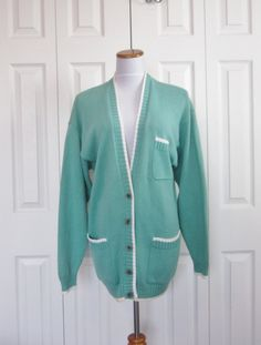 Vintage Preppy Cardigan Turquoise Green Cardigan by GroovyGirlGarb, $34.00