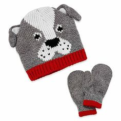Carters Baby Boys Knit Hat and Mittens Set - Grey Dog - 12M - 24M