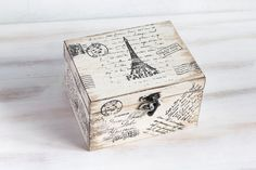 Paris Wooden Box Beige Treasury  Box Jewelry by MyHouseOfDreams, $29.00