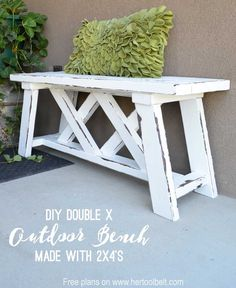 Best Country Decor Ideas for Your Porch - DIY Double X Outdoor Bench - Rustic Farmhouse Decor Tutorials and Easy Vintage Shabby Chic Home Decor for Kitchen, Living Room and Bathroom - Creative Country Crafts, Furniture, Patio Decor and Rustic Wall Art and Country Farmhouse Decor, Country Crafts, Farmhouse Style, Rustic Style, Farmhouse Bench, Modern Farmhouse, Country Style, Country Bench, Modern Rustic