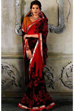 Red and black designer casual printed georgette saree.
