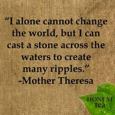 Love it!   I alone cannot change the world but I can cast a stone across the waters to create many ripples