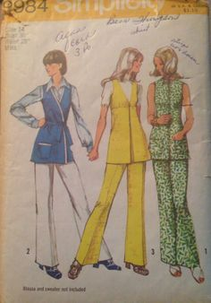 Rare Vintage 1970s sewing pattern Simplicity 9984 by SewVintageCo, $13.00  Front-wrap tunics and 70s fashion pants, size 14- bust 36, waist 28