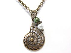 Nautilus Pendant Necklace - Nautilus Shell and Pearl KD Necklace - Antique Gold Necklace - Kappa Delta Sorority - Greek - Nautical - Jewelry. $26.00, via Etsy.