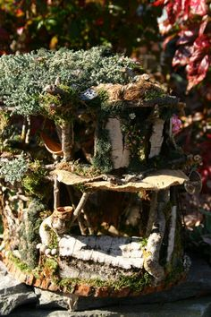 Handcrafted Fairy Homes - Waldorf Fairy House - Blueberry Forest
