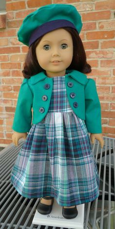 Plaid Dress, Jacket and Beret Outfit for Fall by Designed4Dolls, $24.95