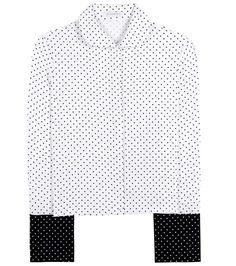 French Cuff black and white polka-dot crêpe shirt