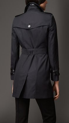 Leather Detail Gabardine Trench Coat   Burberry London