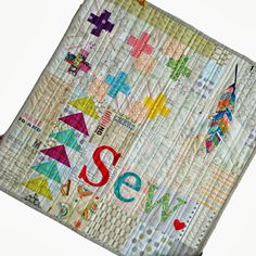 """another pinner said: This is awesome.do or """"di"""": Sew Sew Modern 3 Swap.Mine! Sampler Quilts, Scrappy Quilts, Mini Quilts, Strip Quilts, Alphabet Quilt, Low Volume Quilt, Miniature Quilts, Ideias Diy, Doll Quilt"""